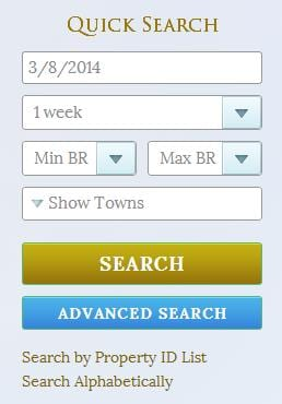 Quick search for vacation rentals