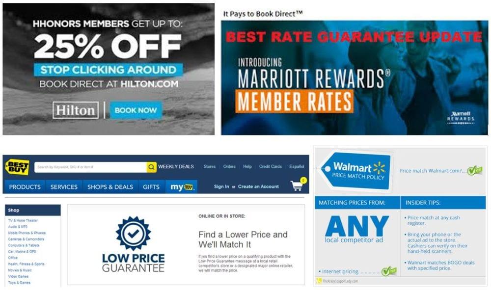 best rate guarantee marriott hilton walmart best buy